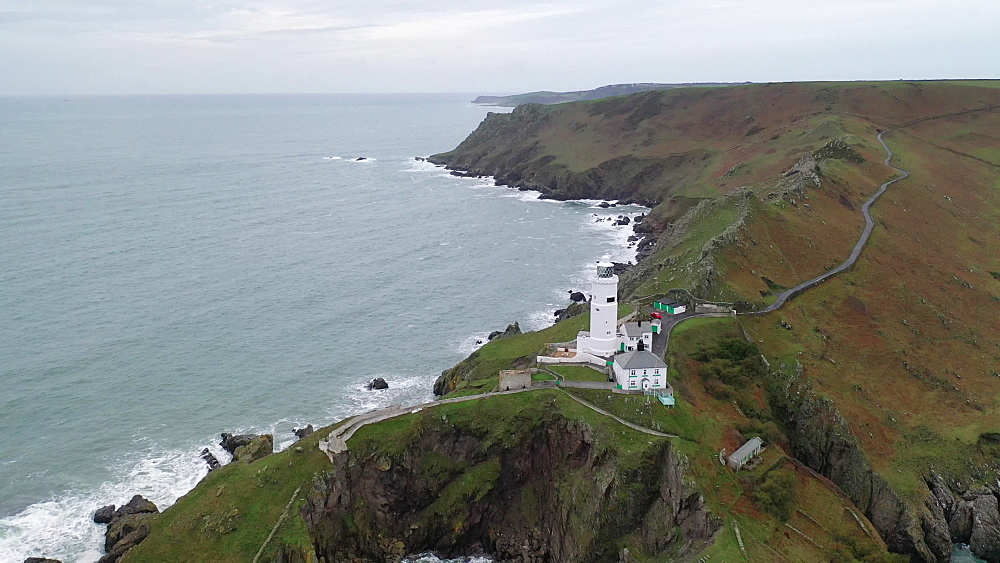 Aerial of Start Point headland and lighthouse, South Hams, Devon, England, United Kingdom, Europe