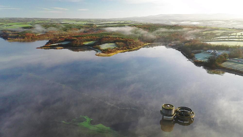 Aerial of Roadford Lake with morning mist, Devon, England, United Kingdom, Europe - 799-4036