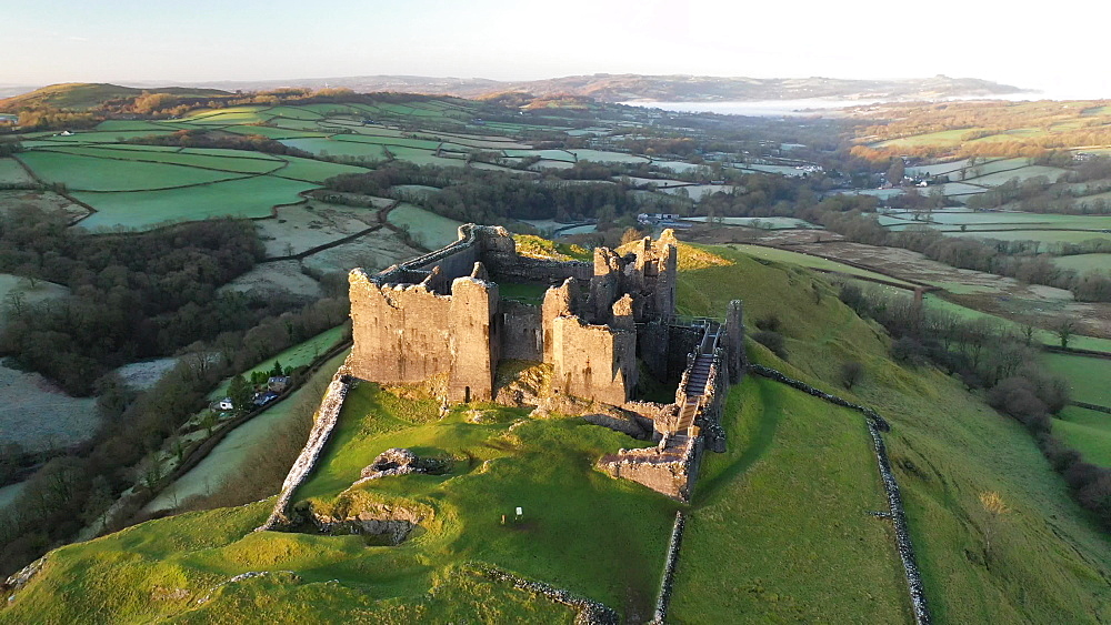 Aerial of Carreg Cennen Castle at dawn, Trapp, Brecon Beacons, Carmarthenshire, Wales, United Kingdom, Europe - 799-4043