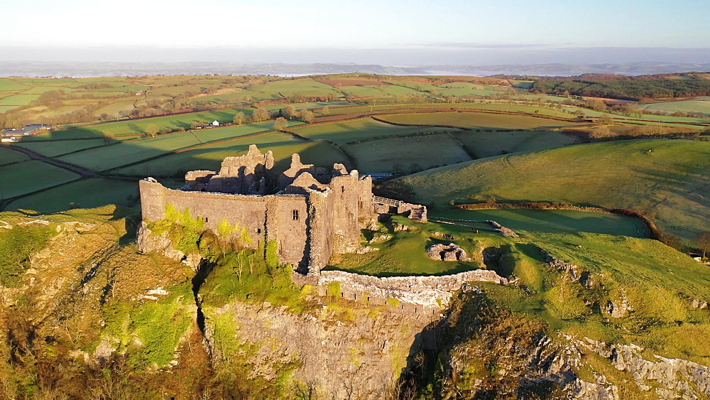 Aerial of Carreg Cennen Castle at dawn, Trapp, Brecon Beacons, Carmarthenshire, Wales, United Kingdom, Europe - 799-4045