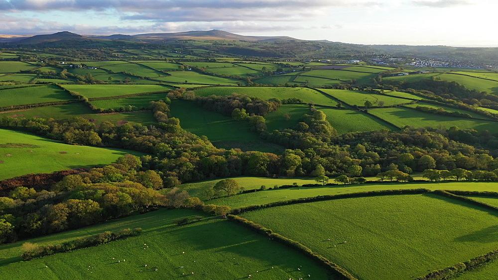 Aerial clip of rolling Devon countryside near Okehampton, Devon, England