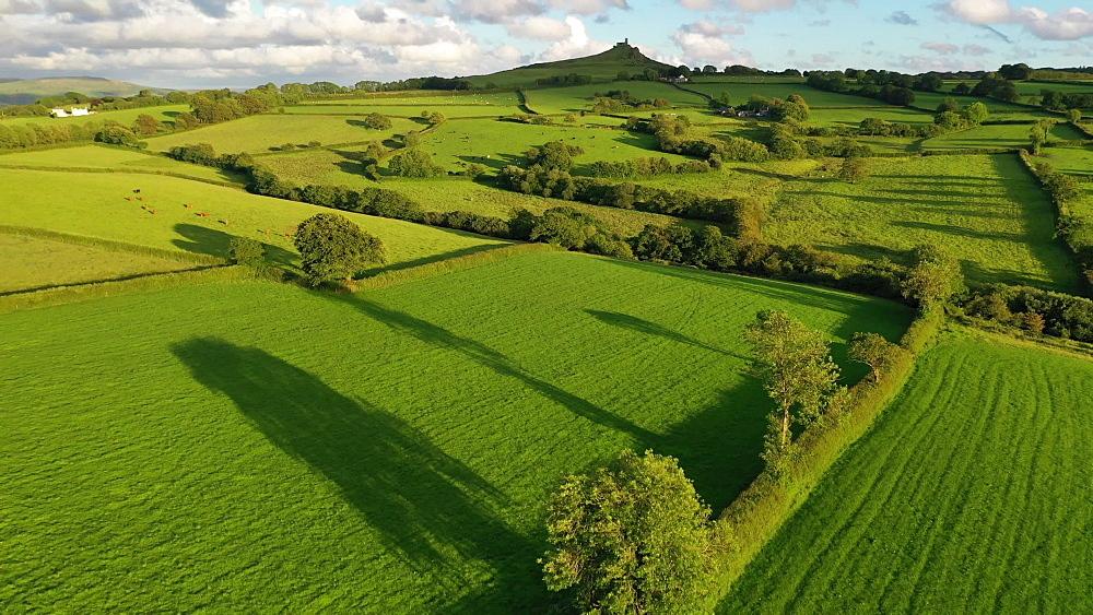 Aerial clip of rolling Dartmoor countryside near Brentor, Devon, England