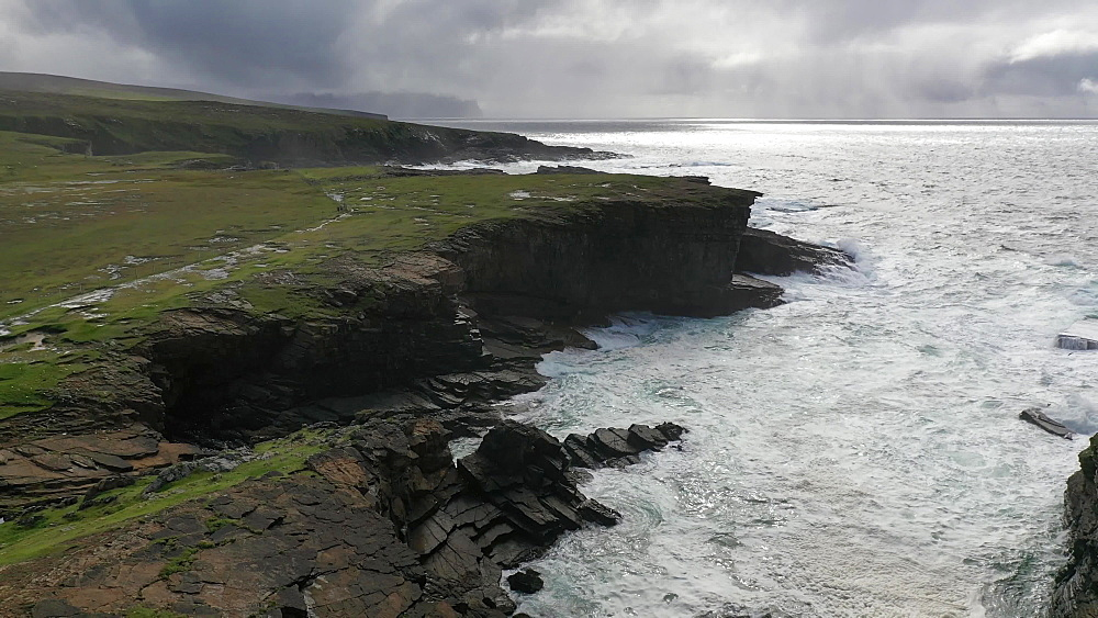 Aerial clip of Yesnaby coastline on the wild west coast of Mainland, Orkney, Scotland