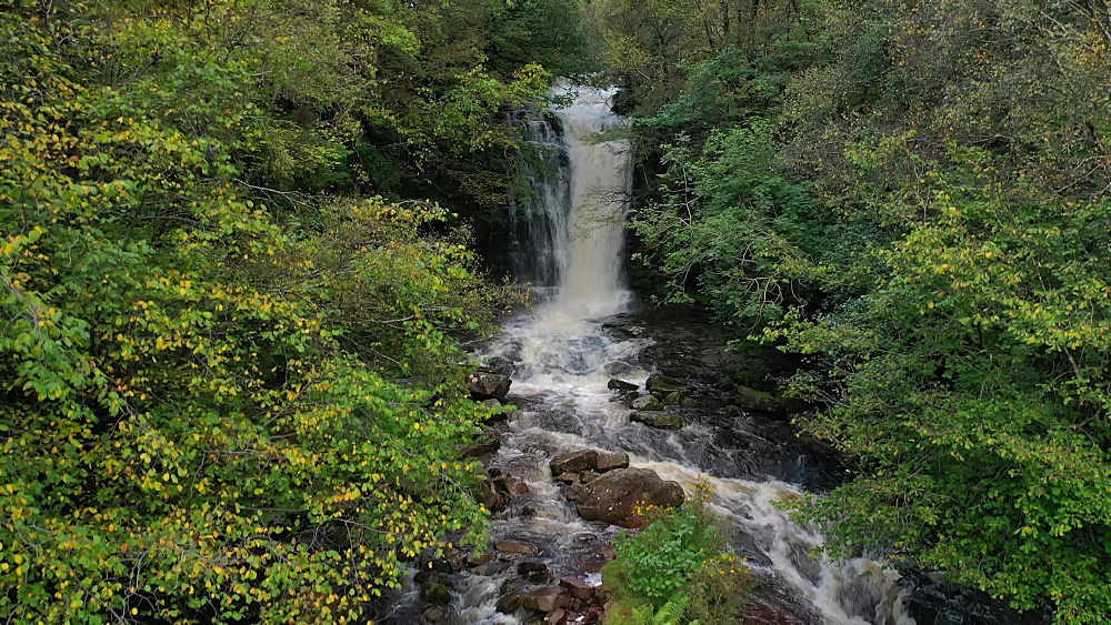 Aerial clip of river and waterfall in the Brecon Beacons National Park, Powys, Wales - 799-4056