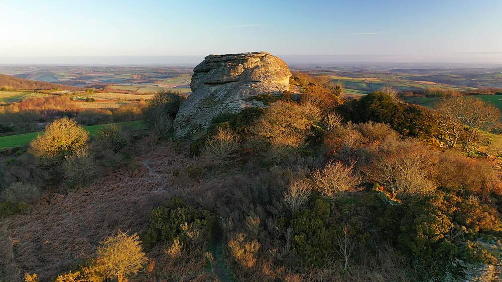 Aerial of Heltor Rock granite tor and surrounding countryside, Dartmoor, Devon, England, United Kingdom, Europe - 799-4104