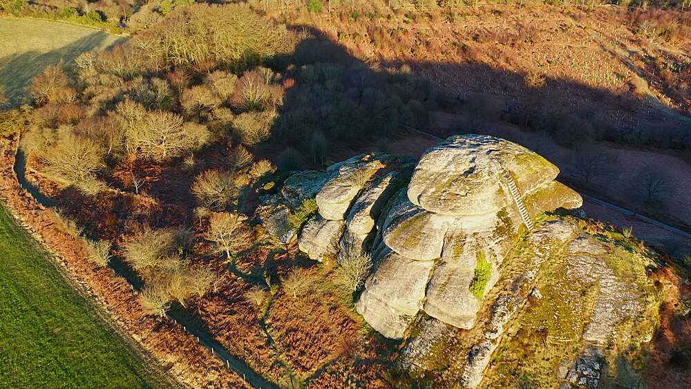 Aerial of Blackingstone Rock granite tor and surrounding countryside, Dartmoor, Devon, England, United Kingdom, Europe