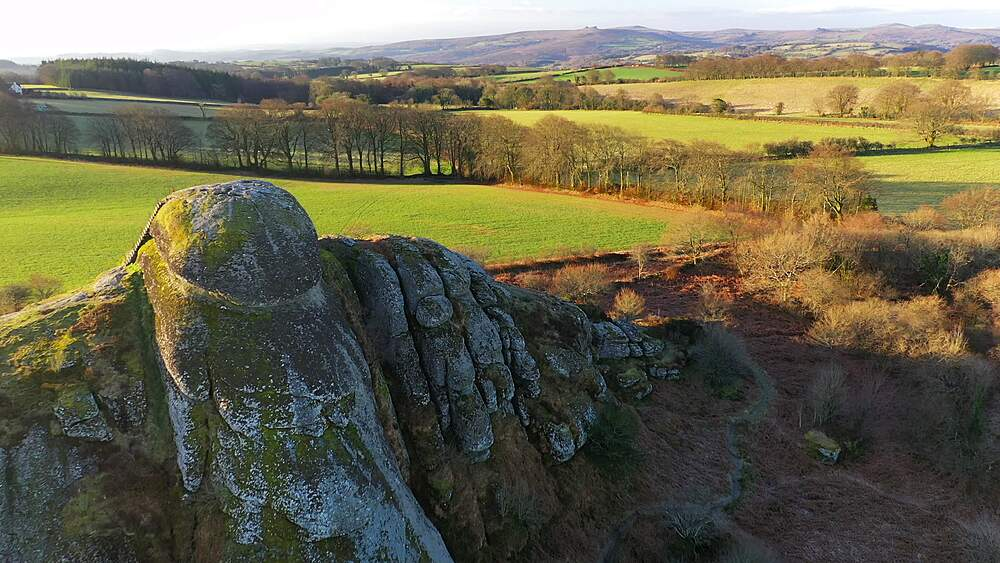 Aerial of Blackingstone Rock granite tor and surrounding countryside, Dartmoor, Devon, England, United Kingdom, Europe - 799-4106