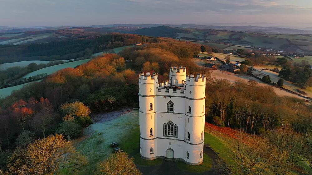 Aerial of Haldon Belvedere (Lawrence Castle) at dawn, Devon, England, United Kingdom, Europe - 799-4108