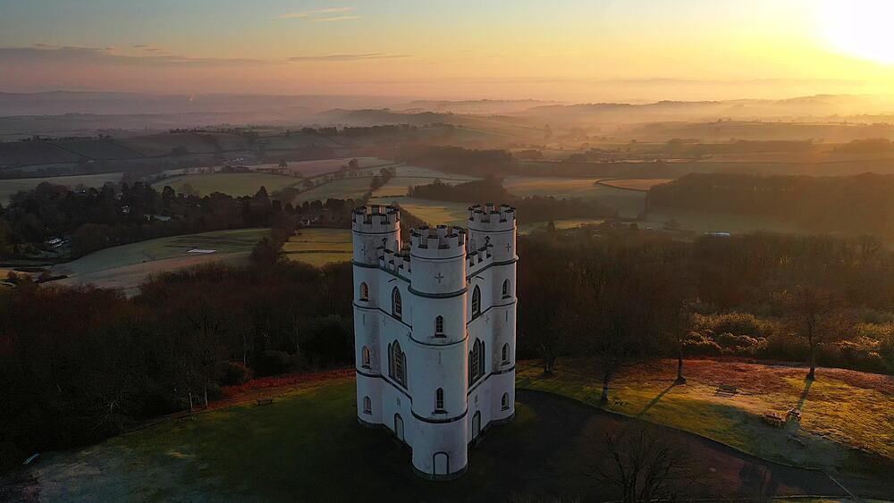 Aerial of Haldon Belvedere (Lawrence Castle) at dawn, Devon, England, United Kingdom, Europe