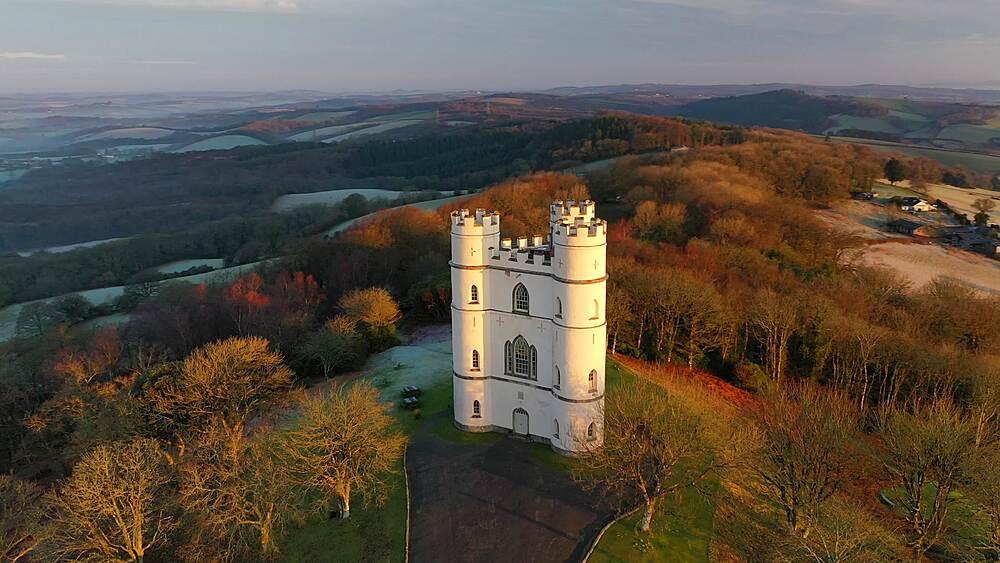 Aerial of Haldon Belvedere (Lawrence Castle) at dawn, Devon, England, United Kingdom, Europe - 799-4110