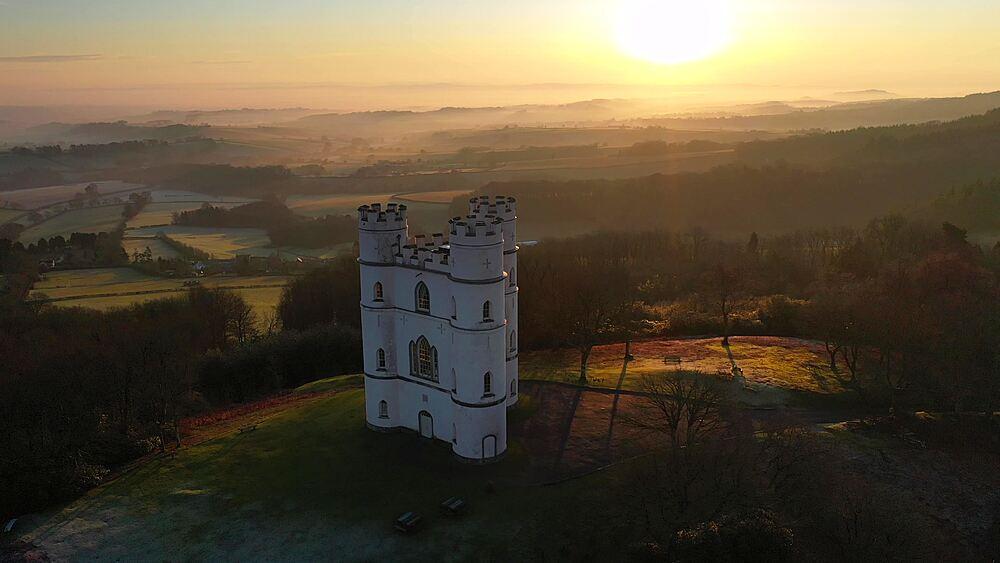 Aerial of Haldon Belvedere (Lawrence Castle) at dawn, Devon, England, United Kingdom, Europe - 799-4112