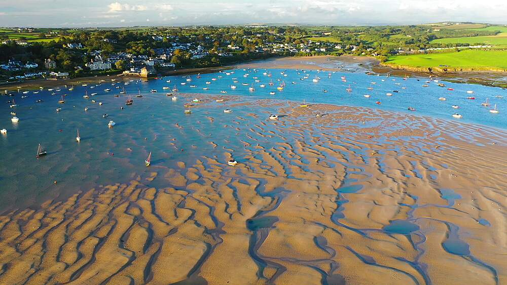 Aerial of Rock and the Camel Estuary at low tide in Cornwall, England, United Kingdom, Europe - 799-4115