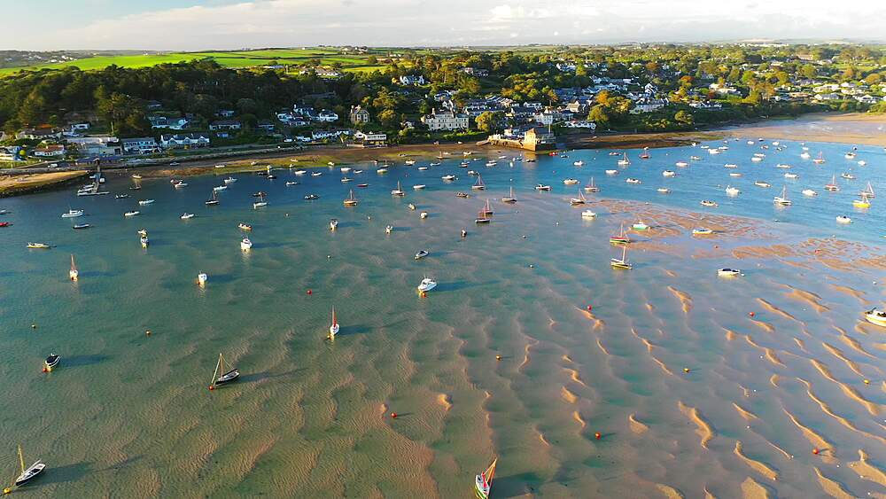 Aerial of Rock and the Camel Estuary at low tide in Cornwall, England, United Kingdom, Europe