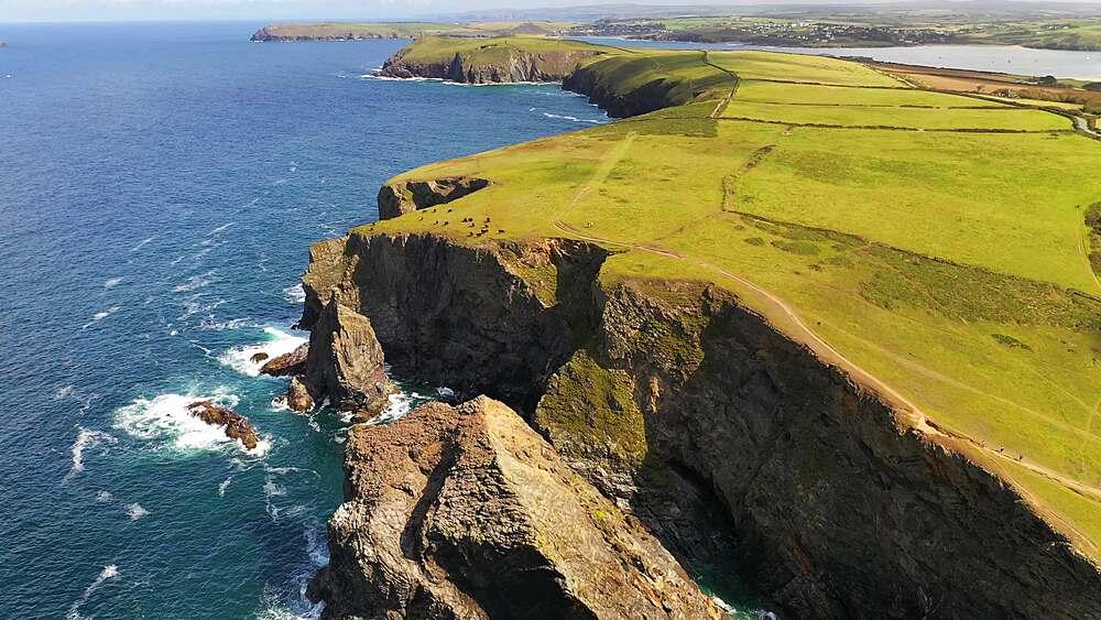 Aerial of dramatic North Cornish coastline near Padstow, Cornwall, England, United Kingdom, Europe