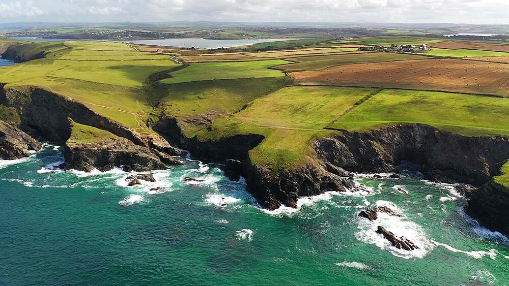 Aerial of dramatic North Cornish coastline near Padstow, Cornwall, England, United Kingdom, Europe - 799-4121