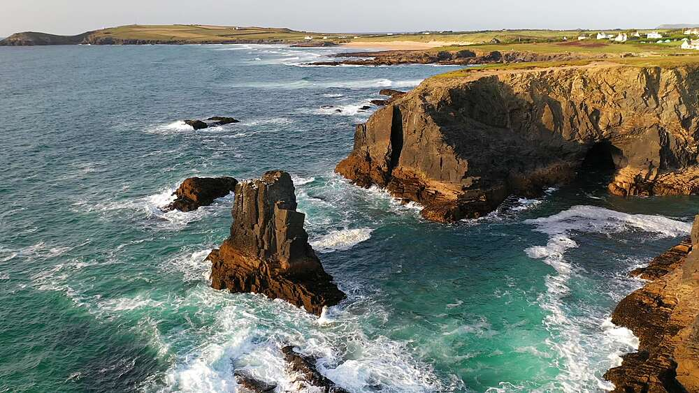 Aerial of dramatic North Cornish coastline near Treyarnon Beach, Cornwall, England, United Kingdom, Europe - 799-4125