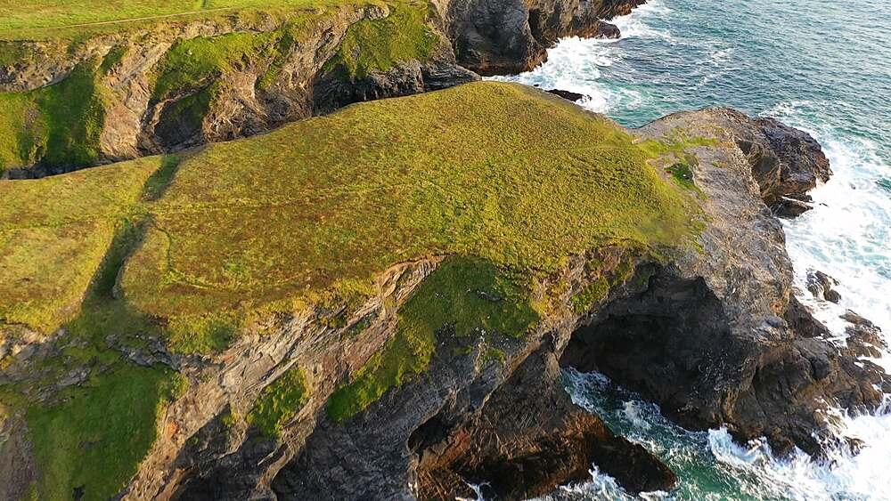 Aerial of dramatic North Cornish coastline near Treyarnon Beach, Cornwall, England, United Kingdom, Europe - 799-4129