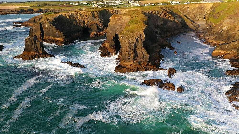 Aerial of dramatic North Cornish coastline near Treyarnon Beach, Cornwall, England, United Kingdom, Europe - 799-4130