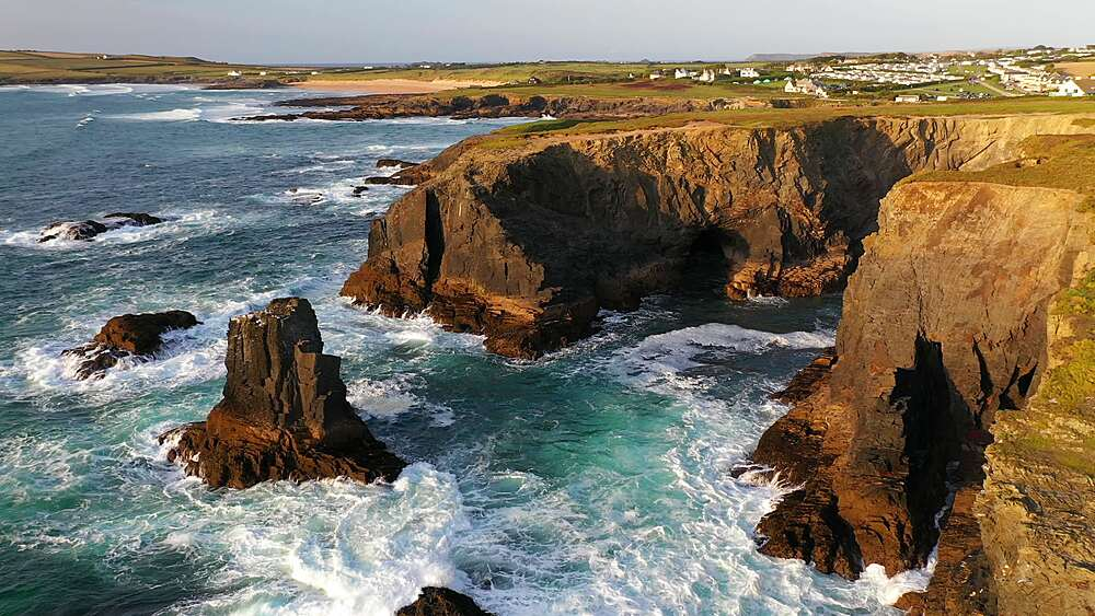 Aerial of dramatic North Cornish coastline near Treyarnon Beach, Cornwall, England, United Kingdom, Europe - 799-4131