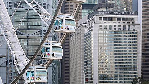 View of cabins of ferris wheel, Central, Hong Kong