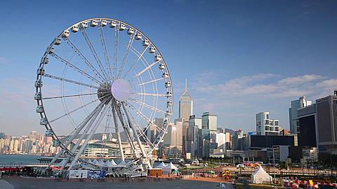 View of ferris wheel, Central, Hong Kong