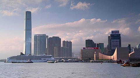View of Tsim Sha Tsui skyline and International Commerce Centre (ICC), Kowloon, Hong Kong, China