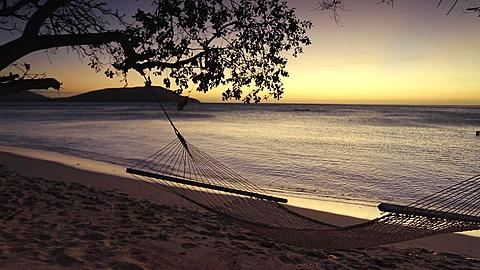 Beach on Nacula Island at sunset, Yasawa Islands, Fiji