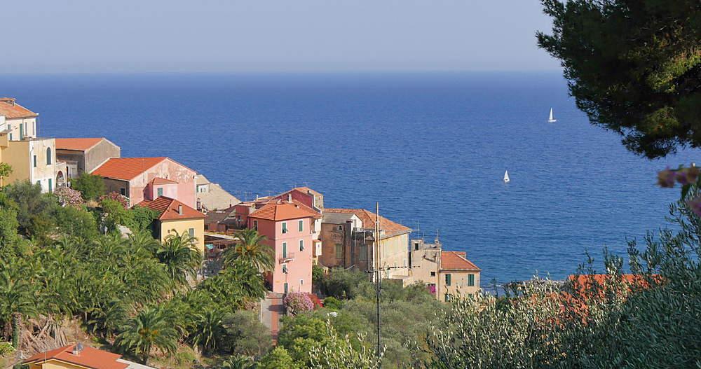 Tyrrhenian Sea and Cervo, Riviera dei Fiori, Liguria, Italy, Europe  - 844-10042
