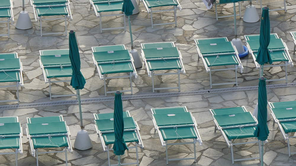 Hotel sun beds in pattern, Santa Margherita, Genova (Genoa), Liguria, Italy, Europe