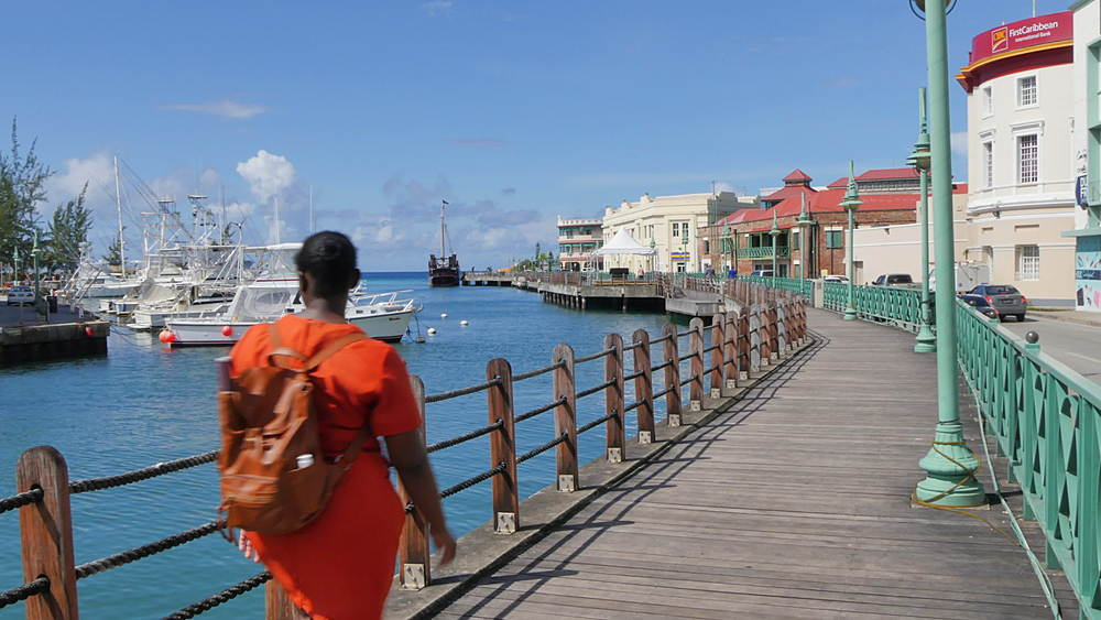 Constitution River and Quayside Shops, Bridgetown, St Michael, Barbados, West Indies, Caribbean - 844-11069