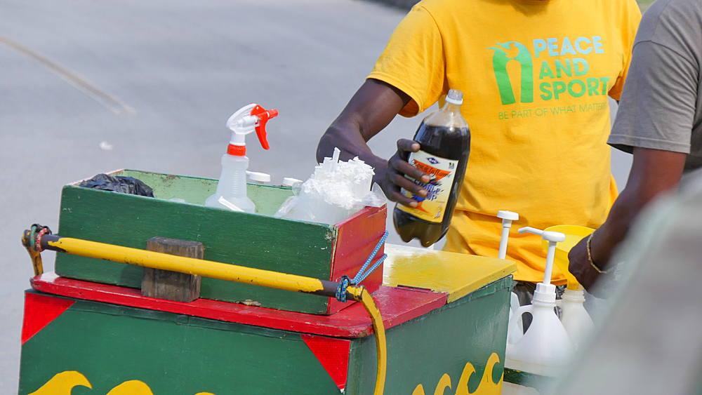 Drinks seller at the Garrison Savannah Racecourse, St Michael, Barbados, West Indies, Caribbean - 844-11092
