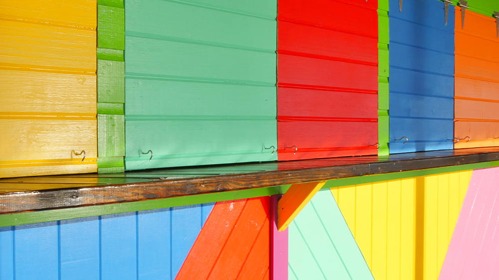 Colourful beach hut and beach, Speightstown, St Peter, Barbados, West Indies, Caribbean - 844-11124