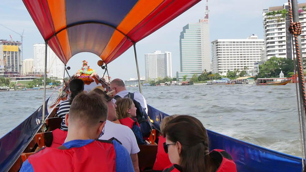 Onboard boat on River Chao Phraya, Bangkok, Thailand, South Asia, Asia