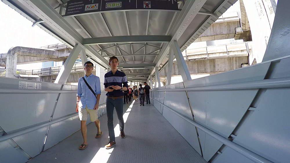 Skywalk towards MBK Shopping Centre, Bangkok, Thailand, South Asia, Asia