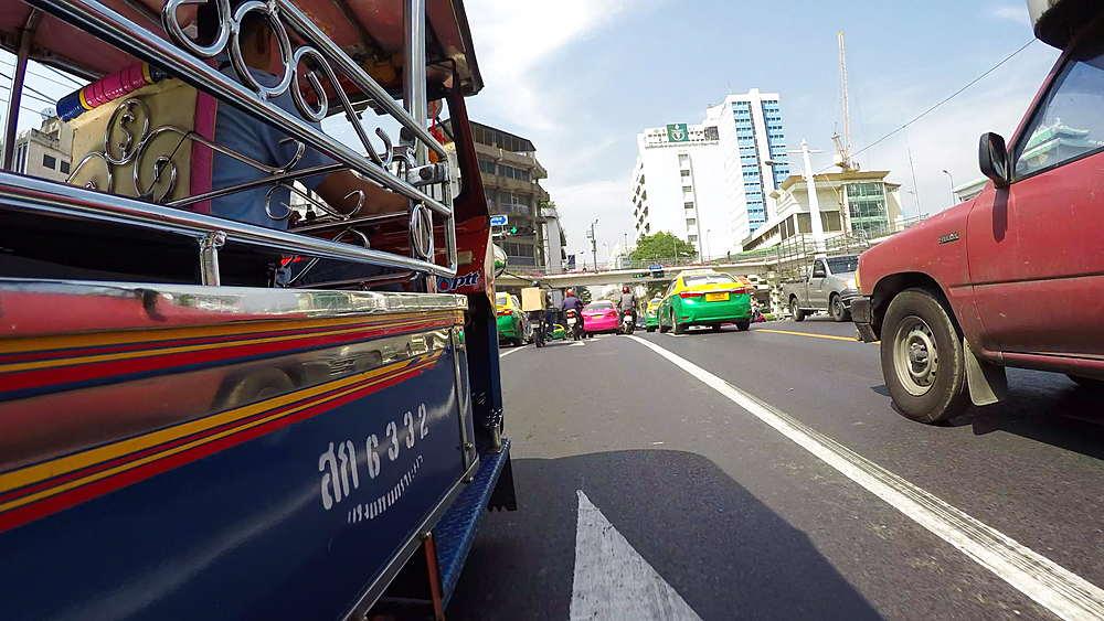 Onboard Tuk Tuk on streets of Bangkok, Bangkok, Thailand, South Asia, Asia