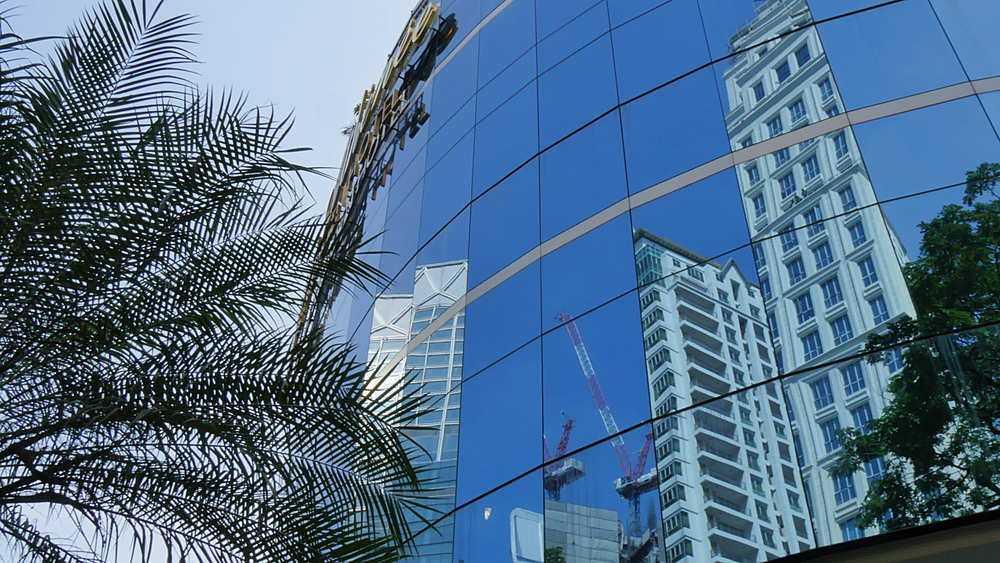 Reflections in contemporary architecture, Bangkok, Thailand, South Asia, Asia
