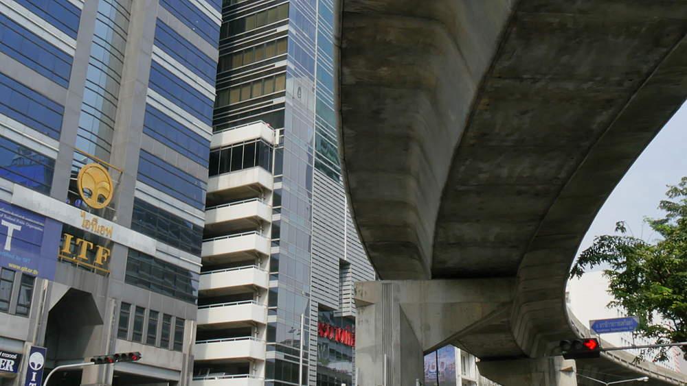 Silom Road and Skytrain above, Bangkok, Thailand, South Asia, Asia