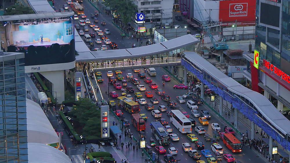 View of traffic Ratchadamri Road at dusk, Bangkok, Thailand, South Asia, Asia