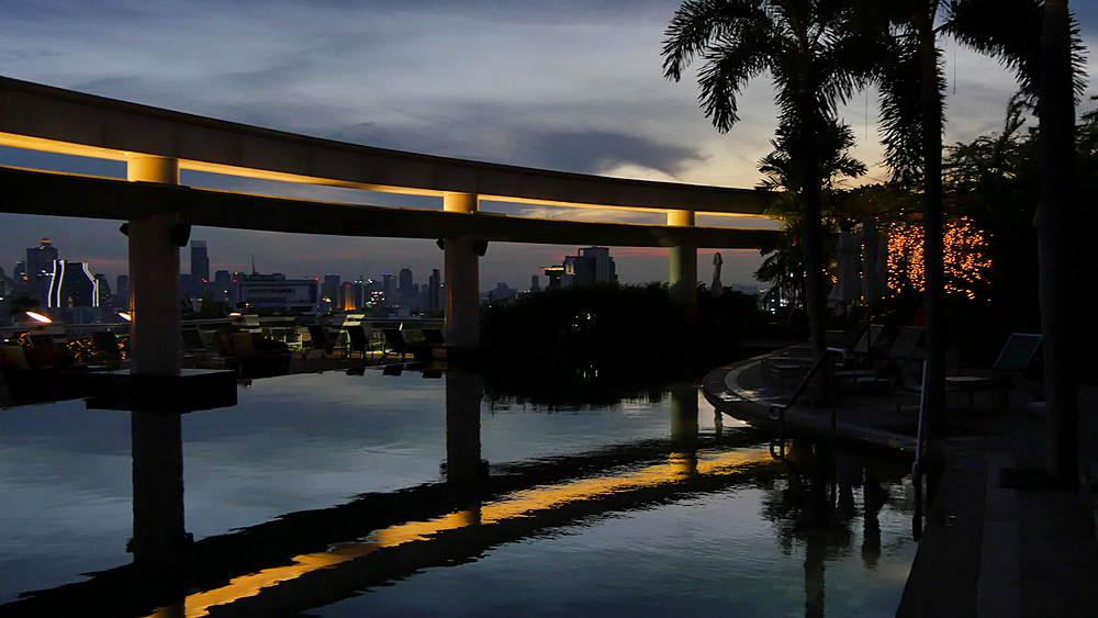 City skyline at dusk, Bangkok, Thailand, South Asia, Asia