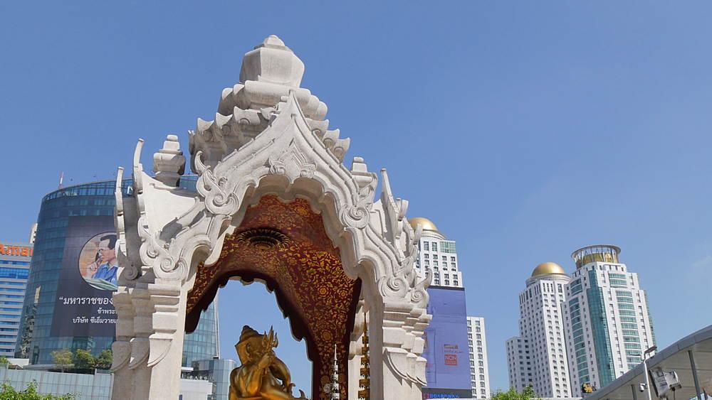 Shrine next to Central World Ratchadamri Road, Bangkok, Thailand, South East Asia, Asia