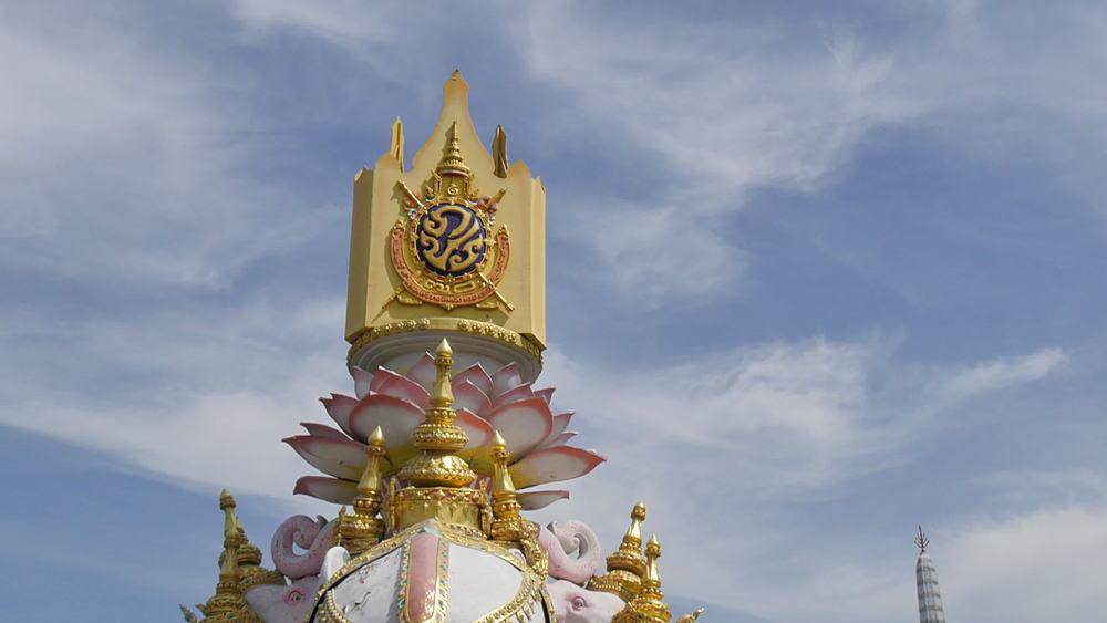 Symbolic elephants and The City Pillar Shrine Lak Muang, Bangkok, Thailand, South East Asia, Asia
