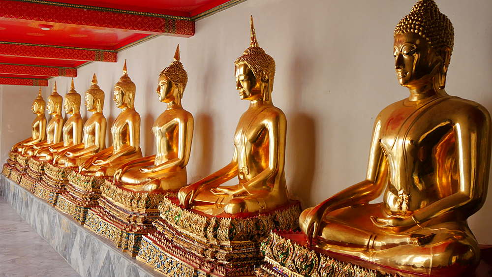 Golden Buddha's in Wat Pho, Bangkok, Thailand, South East Asia, Asia