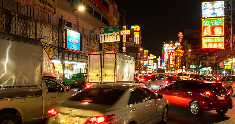 Traffic in Chinatown at night, Bangkok, Thailand, South East Asia, Asia