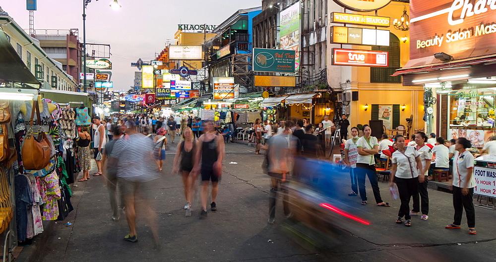 Pedestrians on Khao San Road at dusk, Bangkok, Thailand, South East Asia, Asia