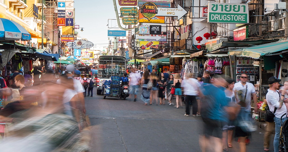 Pedestrians on Khao San Road at dusk, Bangkok, Thailand, South East Asia, Asia