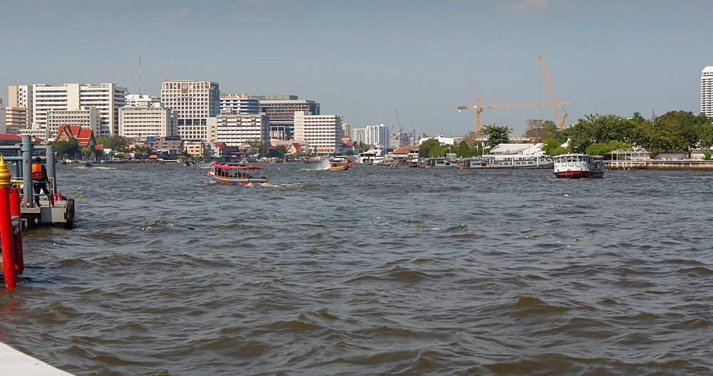 Chao Phraya River and Grand Palace, moving time lapse, Bangkok, Thailand, South East Asia, Asia