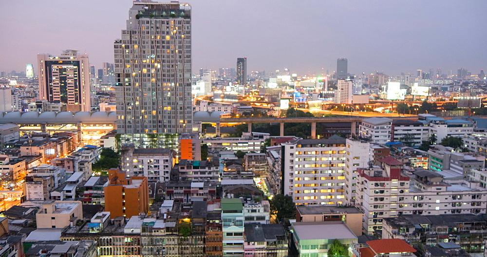Bangkok skyline from dusk to night, Bangkok, Thailand, South East Asia, Asia