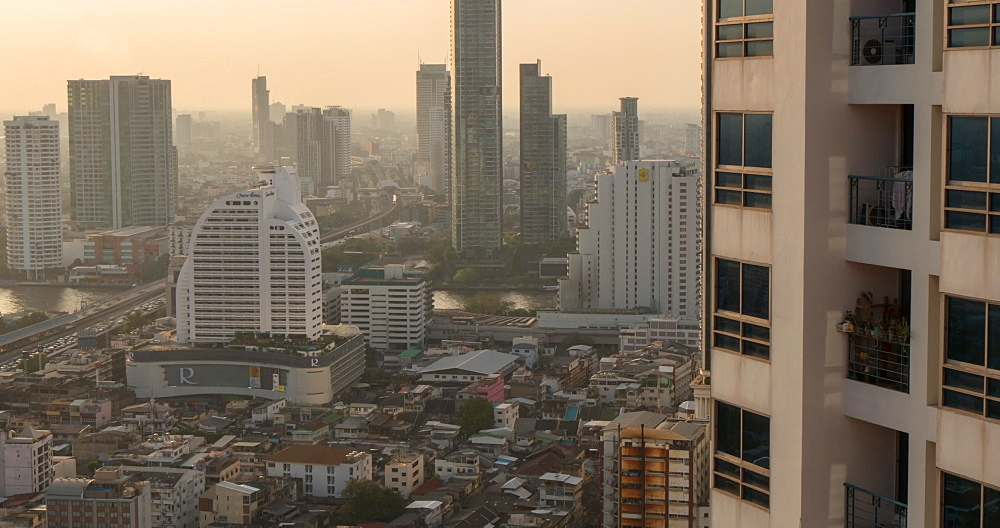 Chao Phraya River and Business District, Bangkok, Thailand, South East Asia, Asia