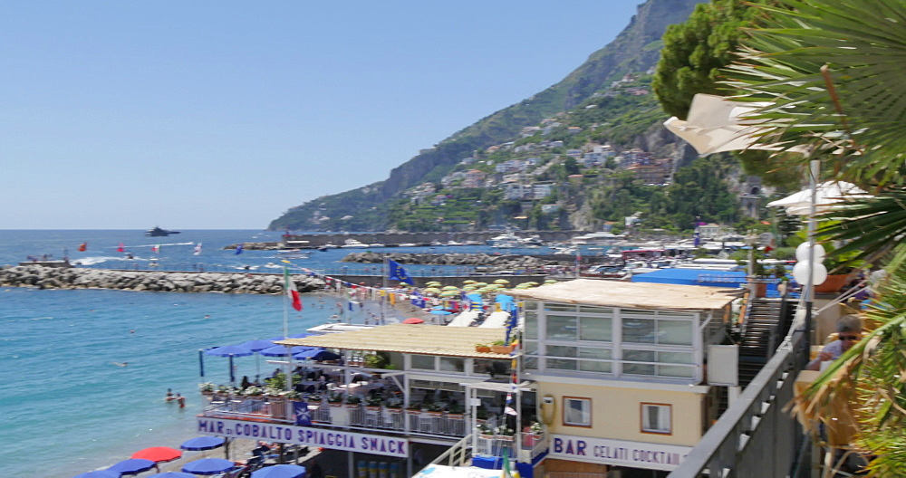 View of promenade and beach, Amalfi, Costiera Amalfitana (Amalfi Coast), UNESCO World Heritage Site, Campania, Italy, Europe