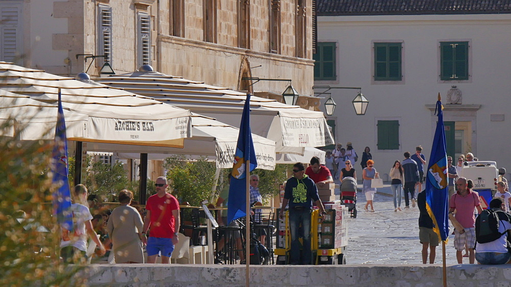 Busy Main Square, Hvar, Hvar Island, Dalmatia, Croatia, Europe - 844-12125